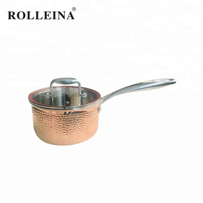 Professional manufacturer tri-ply clad copper food cooking pot sauce pan