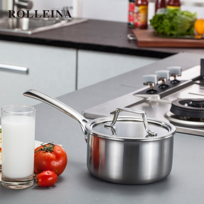 Best selling tri ply stainless steel cooking pot milk sauce pan