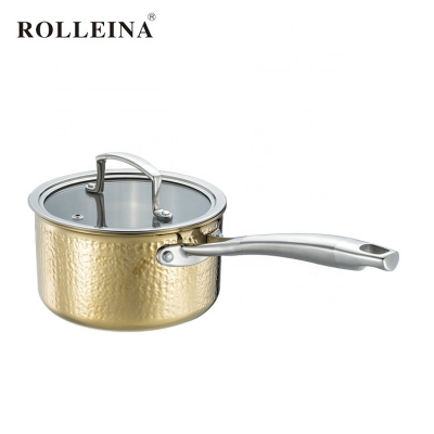 High Quality Household Induction Bottom Milk Pot Tri-ply Clad Gold Hammered Saucepan