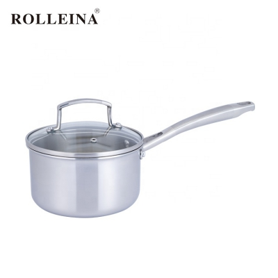 Kitchen Milk Heating Cooking Pot 3 Ply Stainless Steel Sauce Pan