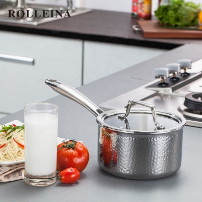 Factory Price Tri Ply Stainless Steel Induction Hammered Milk Warmer Pot Sauce Pan