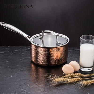 High Quality Tri-ply Copper Restaurant Induction Bottom Milk Pot/ Saucepan/ Sauce Pan