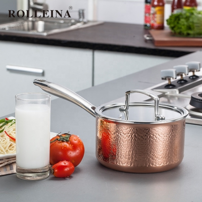 High Quality Tri-ply Copper Household Induction Bottom Milk Cooking Pot Sauce Pan