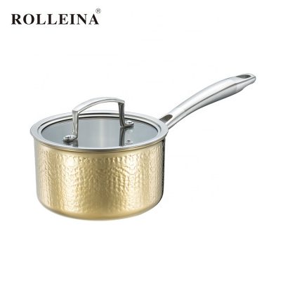 Healthy Non-toxic Tri-ply Clad Gold Hammered Cooking Pot Household Sauce Pan