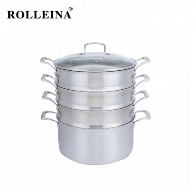 Wholesale high quality tri ply stainless steel cooking steamer pot with glass lid