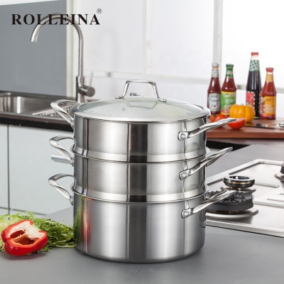 High end multi-use tri-ply stainless steel three-layer cooking steamer pot with glass lid