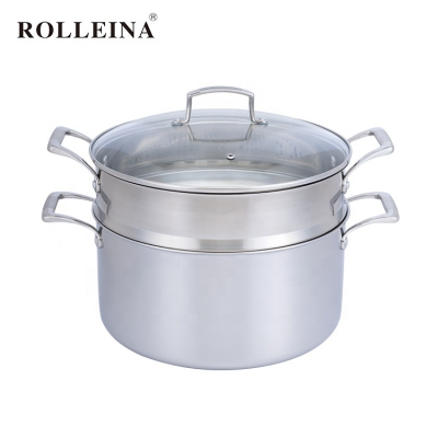 Multi-use tri ply stainless steel cooking pot food dim sum egg steamer