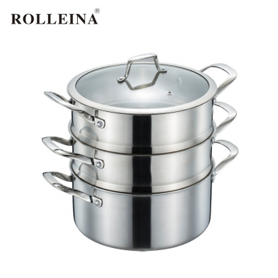 Multifunction 3 layers tri-ply stainless steel steamer pot with glass lid