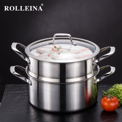 Wholesale German Tri Ply Stainless Steel Kitchen Cooking Food Pan Three-layer Steamer Pot