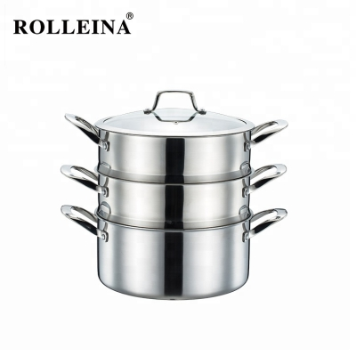 Newest Tri Ply Stainless Steel Kitchen Cooking Steamer Pot