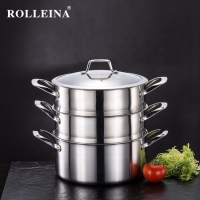 Newest Tri Ply Stainless Steel Cooking Pot 3 Layer Food/ Corn Steamer Pot