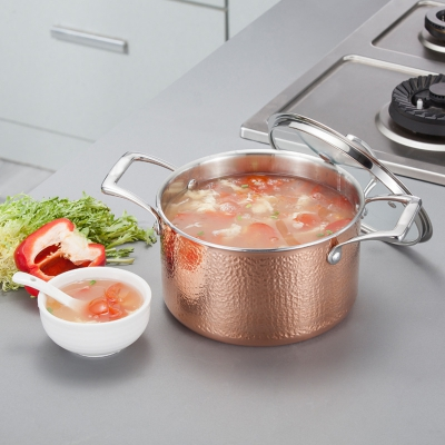 来利亚新款SUS304不锈钢汤锅德国工艺豪华三层钢铜锤纹不锈钢汤锅